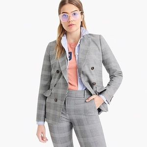 JCrew Ruffle Pocket Blazer in Glenn Plaid